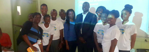 NDM President Peter Townsend With CYD Co-Convenor Shanice and EXED Students